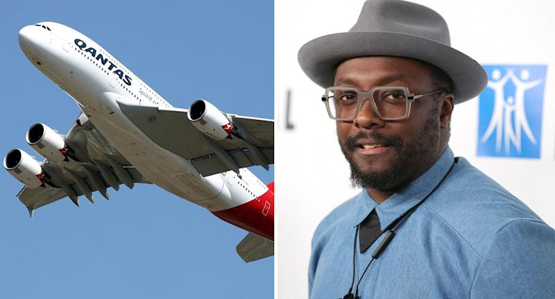 Qantas plane and will.i.am shown as airline hits back at allegations a flight attendant was racist.