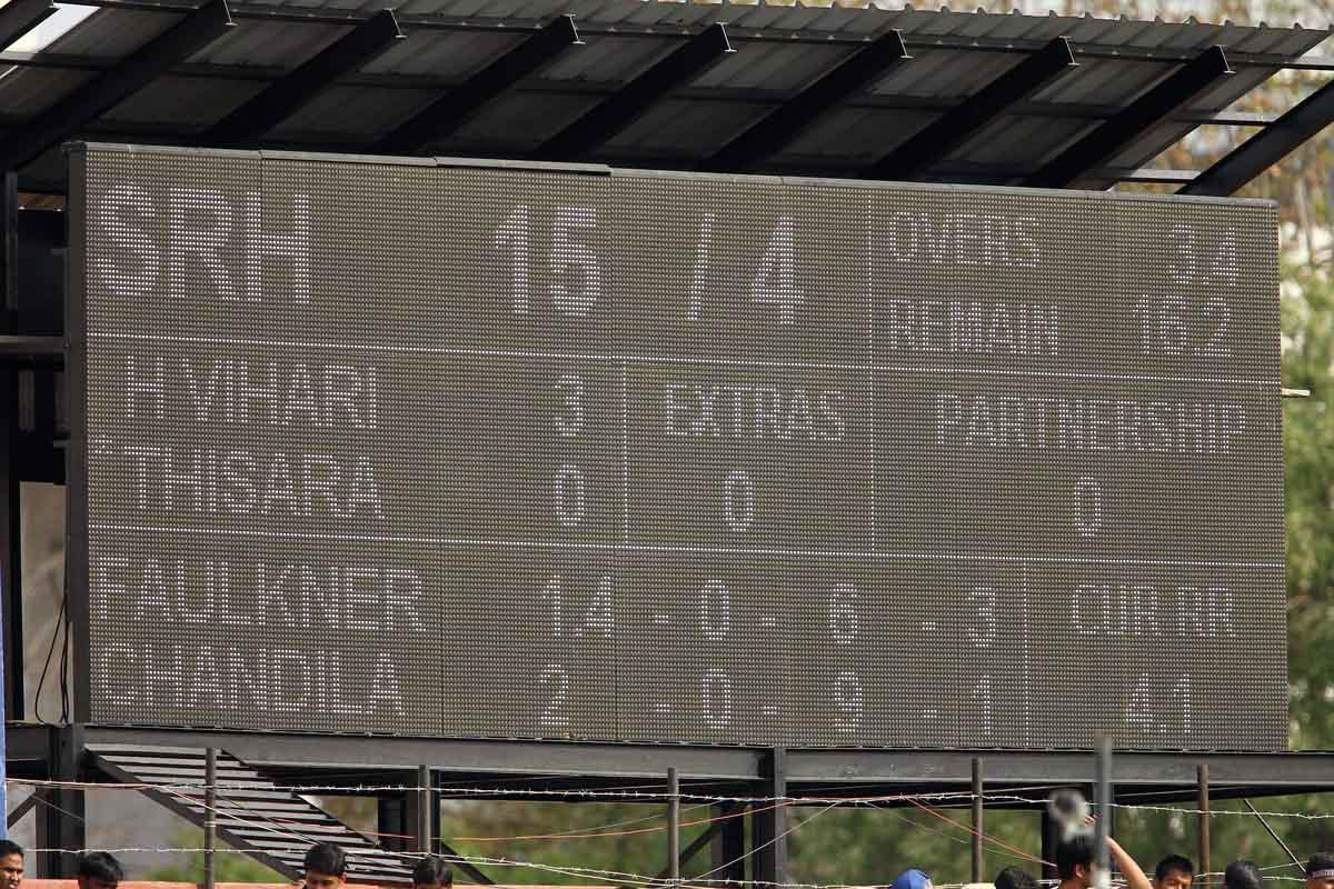 General view of the scoreboard during match 36 of the Pepsi Indian Premier League (IPL) 2013 between The Rajasthan Royals and the Sunrisers Hyderabad held at the Sawai Mansingh Stadium in Jaipur on the 27th April 2013. (BCCI)