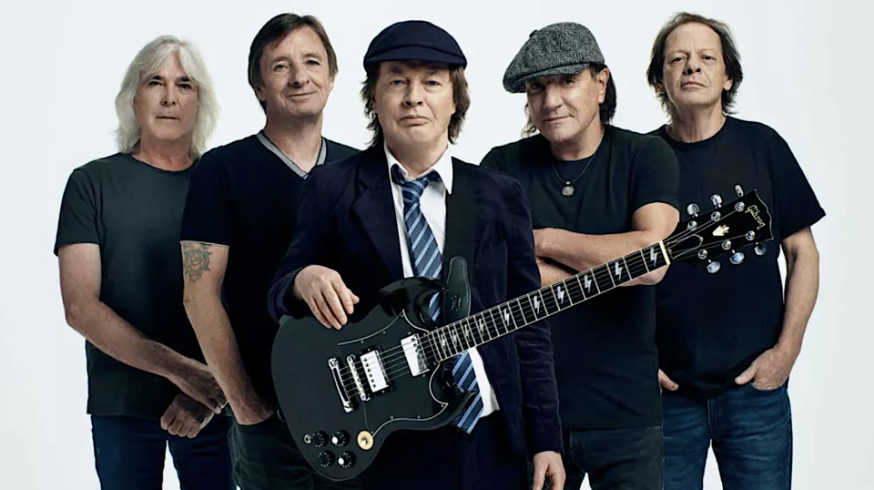 AC/DC circa 2020: Cliff Williams, Phil Rudd, Angus Young, Brian Johnson, Stevie Young. (Photo: Josh Cheuse)