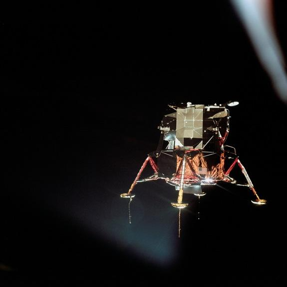 The Apollo 11 lunar module Eagle is seen from the Columbia command module in this photograph by command module pilot Michael Collins on July 20, 1969. Aboard the Eagle, Apollo 11 commander Neil Armstrong and lunar module pilot Buzz Aldrin prepa