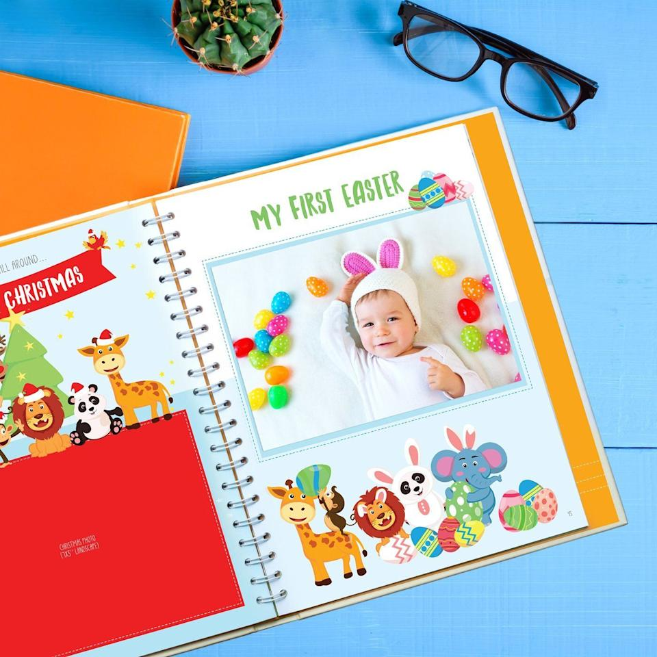 """Keep track of your kiddo's milestones with this adorable book that comes with cute stickers and plenty of photo space.<br /><br /><strong>Promising review:</strong>""""This book is well made with thick pages and very cute artwork. It has monthly pages for the first year and pages for many first holidays. <strong>It has pages for hand and foot prints, various photo pages for mom and baby during pregnancy and lots of 'firsts' pages.</strong> It has extra pages for miscellaneous photos, an envelope attached to the rear book cover and a full blank lined page for additional notes."""" —<a href=""""https://amzn.to/3obd5ao"""" target=""""_blank"""" rel=""""nofollow noopener noreferrer"""" data-skimlinks-tracking=""""5189597"""" data-vars-affiliate=""""Amazon"""" data-vars-href=""""https://www.amazon.com/gp/customer-reviews/R3OJ7ISSEQHK5C?tag=bfheather-20&ascsubtag=5189597%2C26%2C44%2Cmobile_web%2C0%2C0%2C160744"""" data-vars-keywords=""""cleaning,fast fashion"""" data-vars-link-id=""""160744"""" data-vars-price="""""""" data-vars-product-id=""""15996785"""" data-vars-retailers=""""Amazon"""">C. Pollard<br /><br /></a><a href=""""https://amzn.to/3w0hpfp"""" target=""""_blank"""" rel=""""noopener noreferrer""""><strong>Get it from Amazon for$29.97.</strong></a>"""