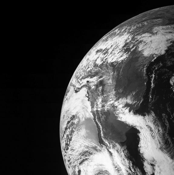 The Juno space probe caught this image of Earth during a flyby on Oct. 9, 2013.
