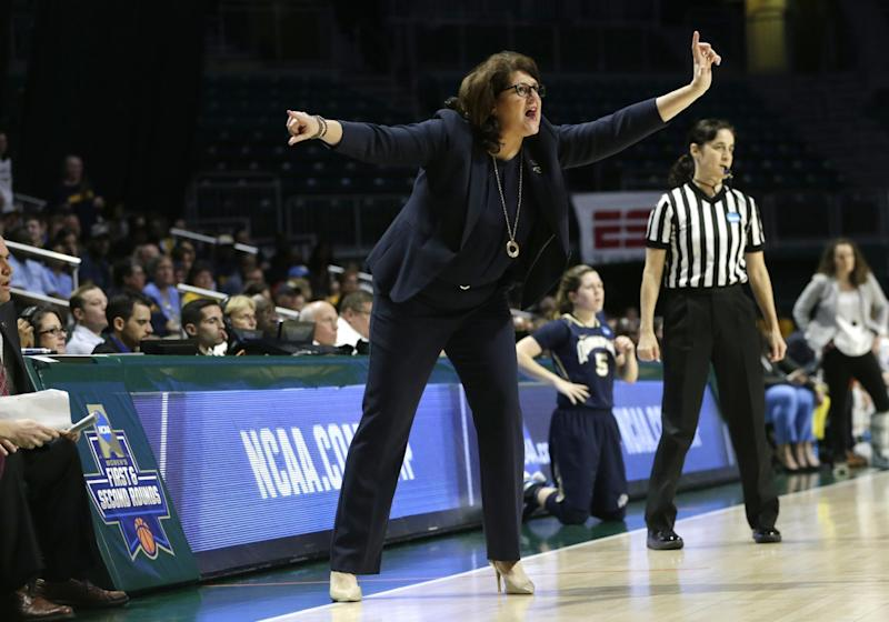 Quinnipiac head coach Tricia Fabbri watches the action during the first half of a first round game against the Marquette in the NCAA women's college basketball tournament, Saturday, March 18, 2017, in Coral Gables, Fla. Quinnipiac won 68-65. (AP Photo/Lynne Sladky)