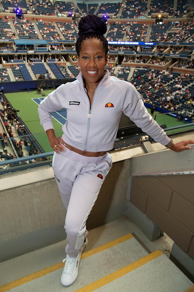 in the Tennis Channel suite on day one of the U.S. Open, Aug. 26.