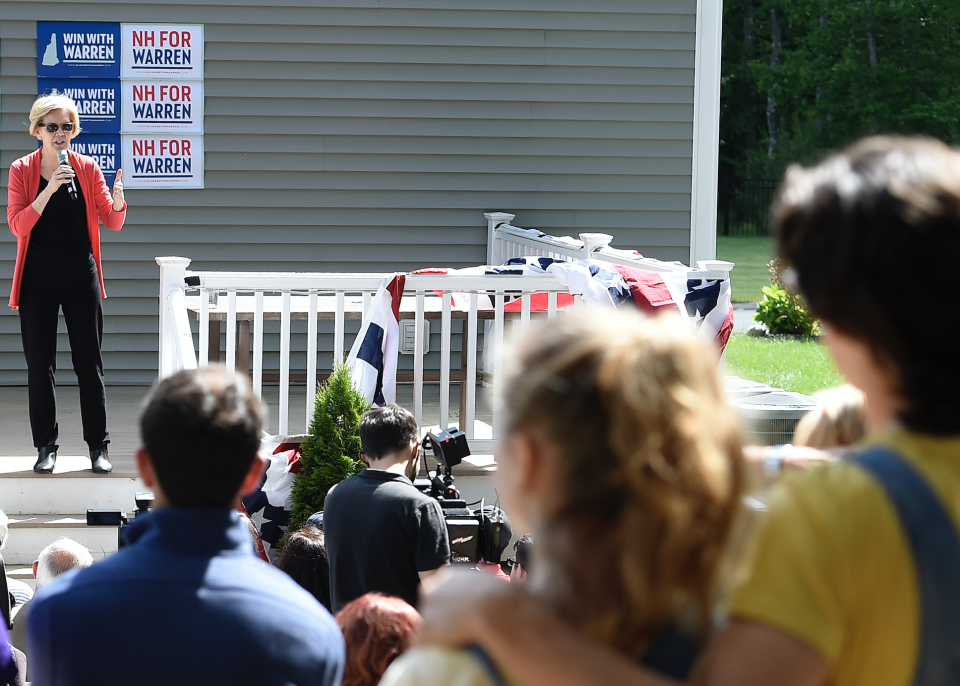 Then-Democratic presidential candidate Sen. Elizabeth Warren, D-Mass., speaks during a house party in Windham, New Hampshire on June 14, 2019. (Staff Photo By Christopher Evans/MediaNews Group/Boston Herald via Getty Images)