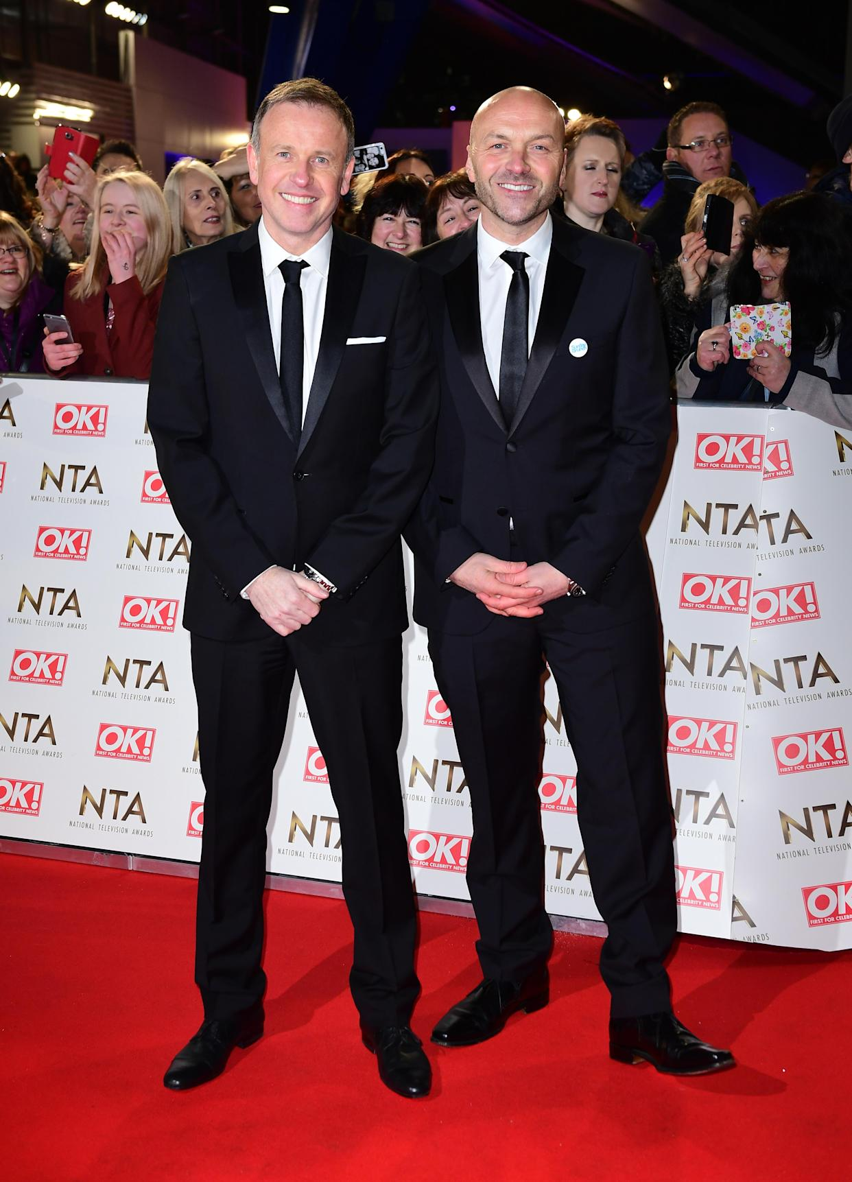 Tim Lovejoy and Simon Rimmer arriving at the National Television Awards 2017, held at The O2 Arena, London. PRESS ASSOCIATION Photo. Picture date: 25th January, 2017. See PA Story SHOWBIZ NTAs. Photo credit should read: Ian West/PA Wire