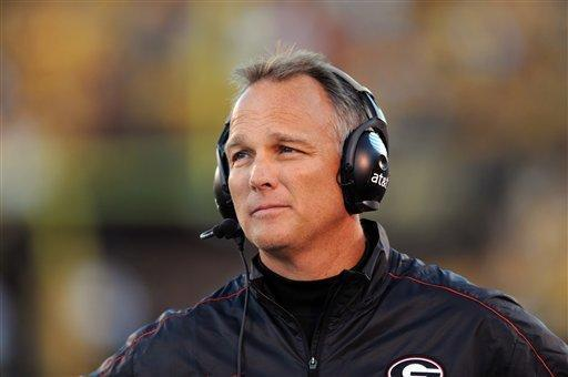 Georgia head coach Mark Richt watches from the sidelines during the first quarter of an NCAA college football game against Missouri Saturday, Sept. 8, 2012, in Columbia, Mo. (AP Photo/L.G. Patterson)