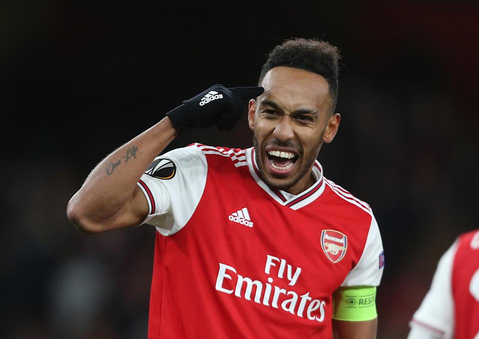 LONDON, ENGLAND - NOVEMBER 28: Arsenal's Pierre-Emerick Aubameyang celebrates scoring his side's first goal during the UEFA Europa League group F match between Arsenal FC and Eintracht Frankfurt at Emirates Stadium on November 28, 2019 in London, United Kingdom. (Photo by Rob Newell - CameraSport via Getty Images)