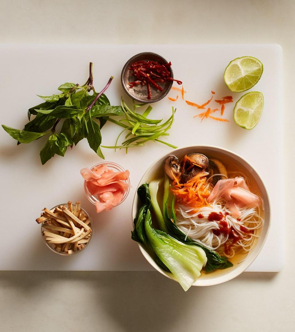 """Fish and meat often figure prominently in pho, but there are traditional vegetarian versions, too. Chief among them is this broth seasoned with soy sauce and a blend of spices like star anise and cinnamon. <a href=""""https://www.epicurious.com/recipes/food/views/vegetarian-pho?mbid=synd_yahoo_rss"""" rel=""""nofollow noopener"""" target=""""_blank"""" data-ylk=""""slk:See recipe."""" class=""""link rapid-noclick-resp"""">See recipe.</a>"""