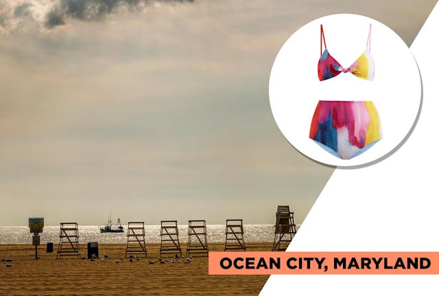 "<p>Ocean City is for the summer traveler who wants an amusement park feel right by the beach. It is jam-packed with activities for the whole family, including arcades, roller coasters, laser tag, paintball, and waterparks, plus golfing, Jet Skiing, surfing, and more. Mara Hoffman's splashy and colorful high-waisted bikini is the one to wear to match OC's vibrant scene. (Photo: Getty Images, Art: Quinn Lemmers for Yahoo Lifestyle)<br><br>Mara Hoffman — Mara Hoffman Carla Knot-Detail Bikini Top, $150, <a href=""https://www.matchesfashion.com/us/products/Mara-Hoffman-Carla-knot-detail-bikini-top--1199531"" rel=""nofollow noopener"" target=""_blank"" data-ylk=""slk:matchesfashion.com"" class=""link rapid-noclick-resp"">matchesfashion.com</a><br> Mara Hoffman — Mara Hoffman Lydia High-Rise Bikini Briefs, $145, <a href=""https://www.matchesfashion.com/us/products/Mara-Hoffman-Lydia-high-rise-bikini-briefs-1199532"" rel=""nofollow noopener"" target=""_blank"" data-ylk=""slk:matchesfashion.com"" class=""link rapid-noclick-resp"">matchesfashion.com</a> </p>"