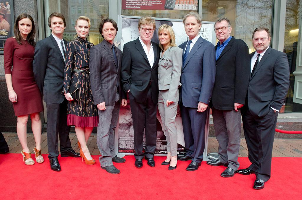 """<a href=""""http://movies.yahoo.com/movie/contributor/1804504083"""">Alexis Bledel</a>, <a href=""""http://movies.yahoo.com/movie/contributor/1809727893"""">Johnny Simmons</a>, <a href=""""http://movies.yahoo.com/movie/contributor/1800021285"""">Evan Rachel Wood</a>, <a href=""""http://movies.yahoo.com/movie/contributor/1808470835"""">James McAvoy</a>, <a href=""""http://movies.yahoo.com/movie/contributor/1800015686"""">Robert Redford</a>, <a href=""""http://movies.yahoo.com/movie/contributor/1800019047"""">Robin Wright</a>, <a href=""""http://movies.yahoo.com/movie/contributor/1800018594"""">Kevin Kline</a>, <a href=""""http://movies.yahoo.com/movie/contributor/1800019318"""">Tom Wilkinson</a> and <a href=""""http://movies.yahoo.com/movie/contributor/1800023787"""">Stephen Root</a> attend the Washington DC premiere of <a href=""""http://movies.yahoo.com/movie/1810194800/info"""">The Conspirator</a> on April 10, 2011."""
