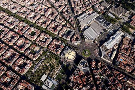 An aerial view shows people gathering at a rally during Catalonia's national day 'La Diada' in Barcelona