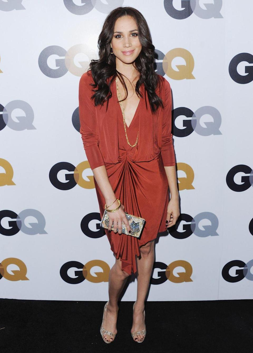 <p>Meghan Markle arrives at GQ Men Of The Year Party at Chateau Marmont, November 2012</p>