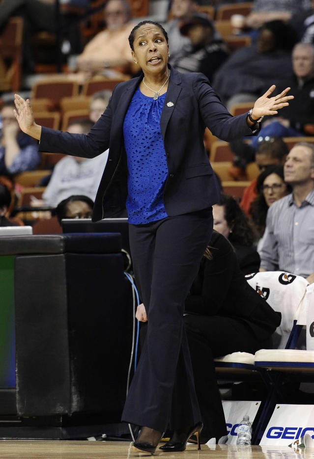 Temple head coach Tonya Cardoza reacts during the first half of an NCAA college basketball game against South Florida in the quarterfinals of the American Athletic Conference women's basketball tournament, Saturday, March 8, 2014, in Uncasville, Conn. (AP Photo/Jessica Hill)