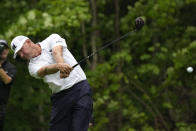 Lucas Glover hits off the 17th tee during the final round of the John Deere Classic golf tournament, Sunday, July 11, 2021, at TPC Deere Run in Silvis, Ill. (AP Photo/Charlie Neibergall)