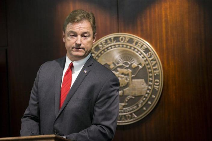 Sen. Dean Heller, R-Nev., during a press conference where he announced he will vote no on the proposed GOP healthcare bill at the Grant Sawyer State Office Building on Friday, June 23, 2017 in Las Vegas. (Photo: Erik Verduzco/Las Vegas Review-Journal via AP)