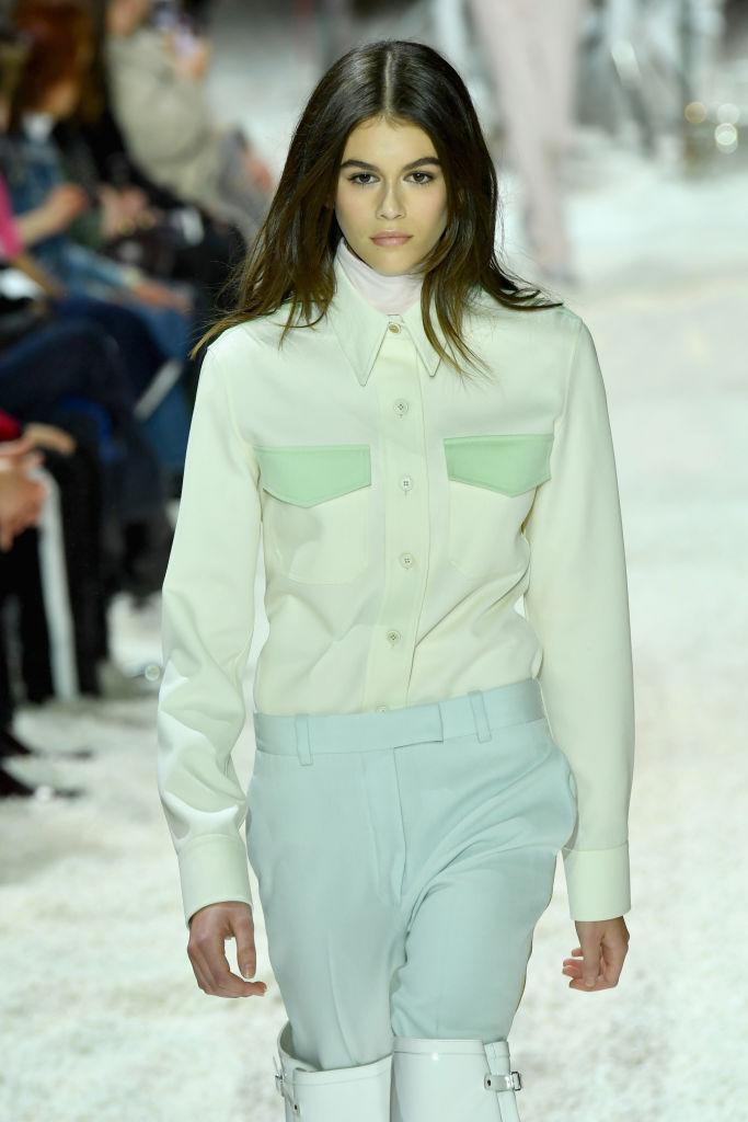 <p>Spring needs to hurry up because all we want to do is don head-to-toe pastels thanks to Kaia Gerber's sugar-sweet aesthetic on the Calvin Klein runway. <em>[Photo: Getty]</em> </p>