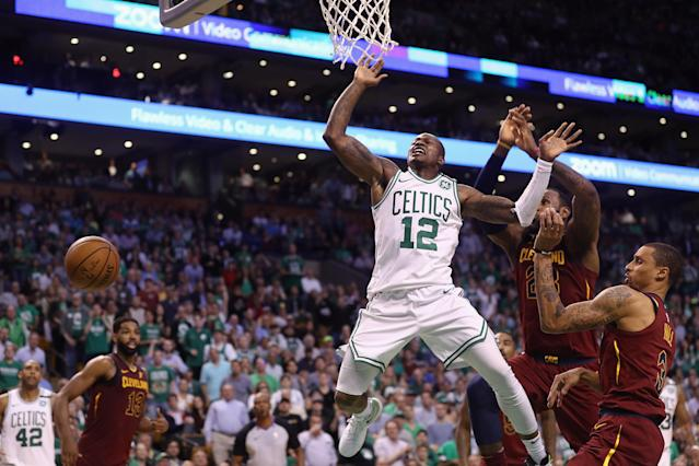 BOSTON, MA - MAY 15: Terry Rozier #12 of the Boston Celtics loses the ball as he drives to the basket in the second half against the Cleveland Cavaliers during Game Two of the 2018 NBA Eastern Conference Finals at TD Garden on May 15, 2018 in Boston, Massachusetts. (Photo by Maddie Meyer/Getty Images)