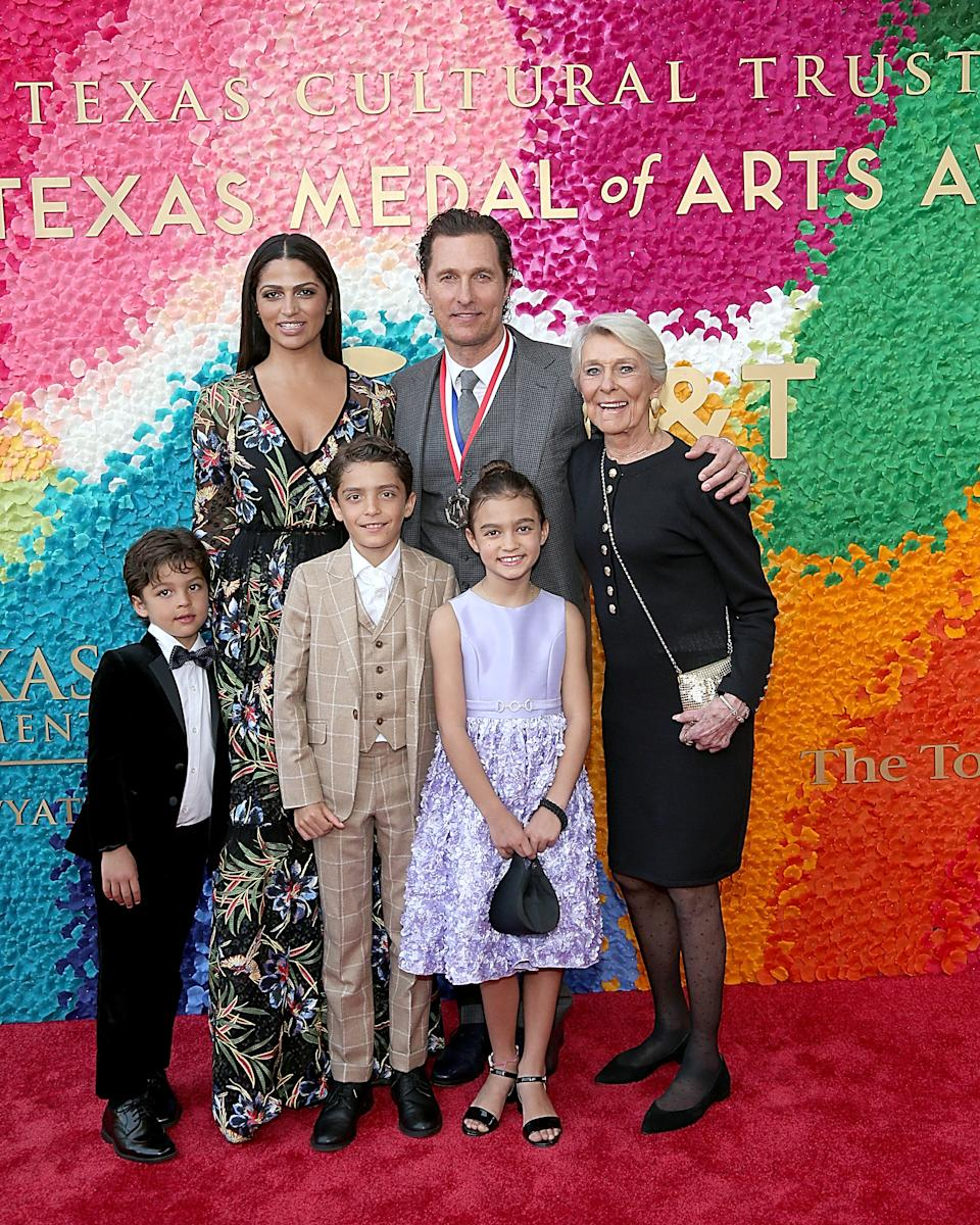 AUSTIN, TEXAS - FEBRUARY 27:  (L - R) Livingston Alves McConaughey, Camila Alves, Levi Alves McConaughey, honoree Matthew McConaughey, Vida Alves McConaughey and Kay McConaughey attend the Texas Medal Of Arts Awards at the Long Center for the Performing Arts on February 27, 2019 in Austin, Texas.  (Photo by Gary Miller/Getty Images)