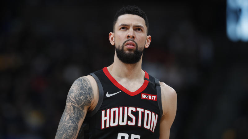 Houston Rockets guard Austin Rivers (25) in the second half of an NBA basketball game Sunday, Jan. 26, 2020, in Denver. The Nuggets won 117-110. (AP Photo/David Zalubowski)