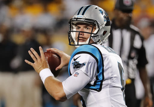 Carolina Panthers quarterback Taylor Heinicke looks for wide receiver Mose Frazier in the end zone, before throwing for a touchdown during the first half of a preseason NFL football game against the Pittsburgh Steelers in Pittsburgh, Thursday, Aug. 30, 2018. (AP Photo/Keith Srakocic)