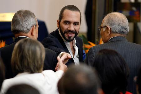 FILE PHOTO:  Nayib Bukele arrives to a ceremony to receive the credential as president-elect after winning the presidential election in San Salvador