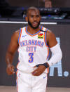 Oklahoma City Thunder's Chris Paul reacts to his 3-point basket during the second quarter against the Houston Rockets in Game 2 of an NBA basketball first-round playoff series, Thursday, Aug. 20, 2020, in Lake Buena Vista, Fla. (Kevin C. Cox/Pool Photo via AP)