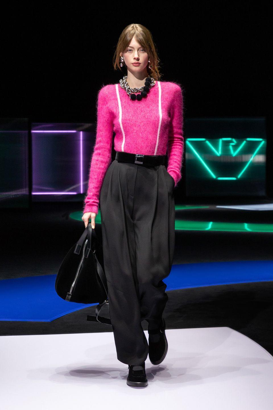 <p>Trends are cyclical, yes, yet some decades are less forgiving than others. The '80s can be the hardest for designers to make palatable what with all of that era's insistence on things that fall so far from classical aesthetic principles, yet Emporio Armani's reincarnation feels more than palatable. It's a softer version of some of the harsher shapes, with pleated-front trousers, skinny suspenders, and drop waist silhouettes included. The prints are bold and the velvet soft, yet neither read garish in a way vintage pieces might shriek. The '80s reliably make for fun costume parties but not always real-life fodder; it feels refreshing to see a take that's not just acceptable but actually exciting.<em>—Leah Melby Clinton</em></p>
