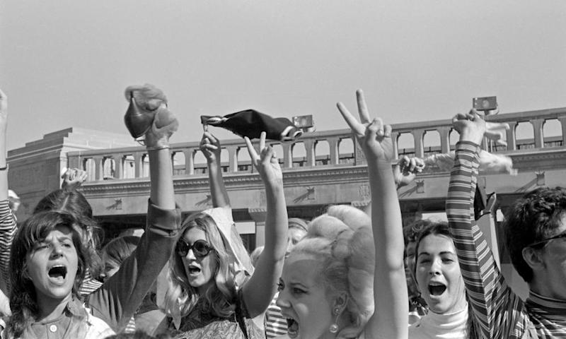 Women protesting against the Miss America beauty pageant in 1968 wave their underwear in the air