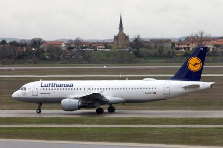 A Lufthansa Airbus A320-200 plane is seen on the tarmac at the Lyon-Saint-Exupery airport in Colombier-Saugnieu near Lyon