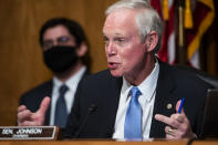 Senate Homeland Security and Governmental Affairs Committee Chairman Ron Johnson, R-Wis., speaks during a hearing to discuss election security and the 2020 election process on Wednesday, Dec. 16, 2020, on Capitol Hill in Washington. (Jim Lo Scalzo/Pool via AP)