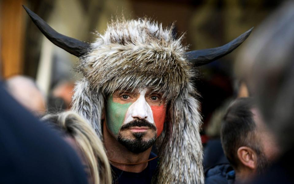 Ermes Ferrari took part in a protest outside the Italian parliament against lockdown restrictions - FILIPPO MONTEFORTE / AFP
