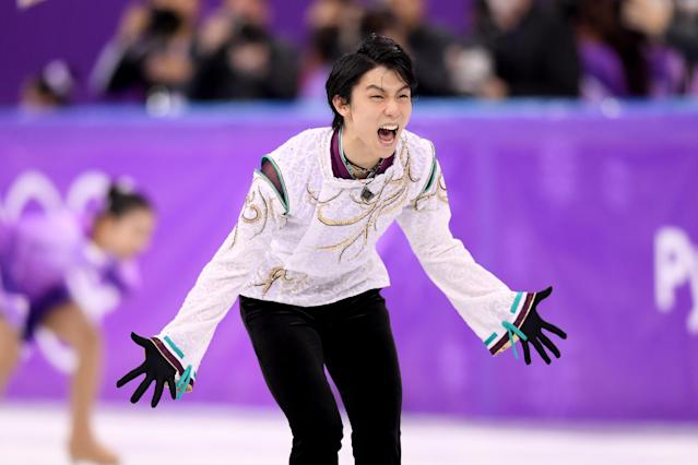 <p>Yuzuru Hanyu of Japan reacts after competing during the Men's Single Free Program on day eight of the PyeongChang 2018 Winter Olympic Games at Gangneung Ice Arena on February 17, 2018 in Gangneung, South Korea. (Photo by Harry How/Getty Images) </p>