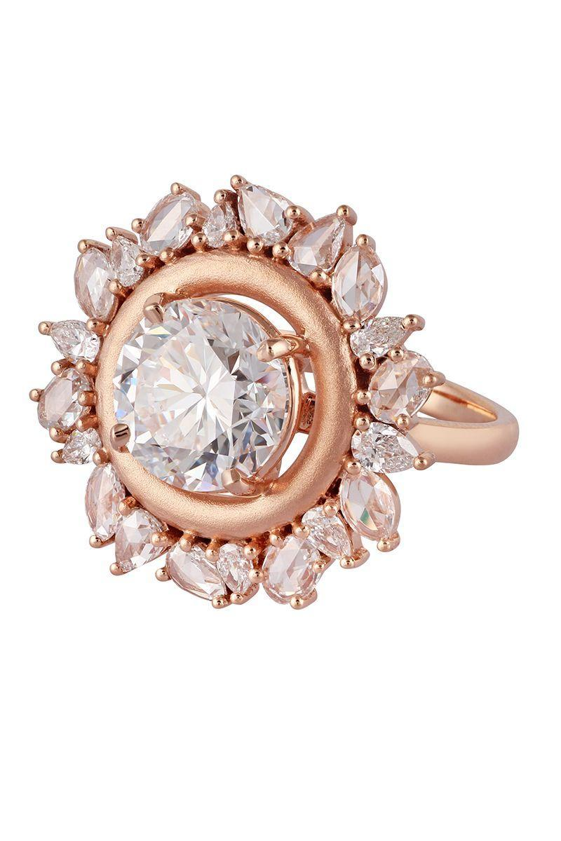 "<p><em><strong>Ananya</strong> <strong>""</strong>The Halo"" Engagement Ring round diamond solitaire is surrounded by a sanded gold finish band with a combination of rose cut and full cut diamonds in 18K rose gold, $189,640<strong>, </strong><a href=""https://ananya.com/?v=79cba1185463"" rel=""nofollow noopener"" target=""_blank"" data-ylk=""slk:ananya.com"" class=""link rapid-noclick-resp"">ananya.com</a>.</em><br><br><a class=""link rapid-noclick-resp"" href=""https://ananya.com/?v=79cba1185463"" rel=""nofollow noopener"" target=""_blank"" data-ylk=""slk:SHOP"">SHOP</a></p>"