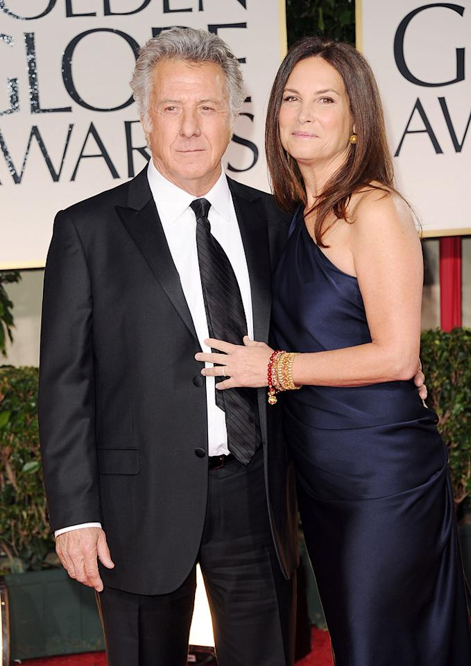 Dustin Hoffman and wife arrive at the 69th Annual Golden Globe Awards in Beverly Hills, California, on January 15.