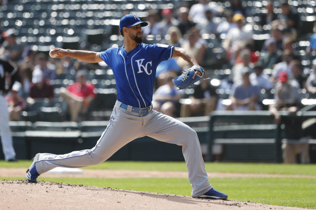 Kansas City Royals relief pitcher Jorge Lopez delivers during the first inning of a baseball game against the Chicago White Sox Thursday, Sept. 12, 2019, in Chicago. (AP Photo/Charles Rex Arbogast)