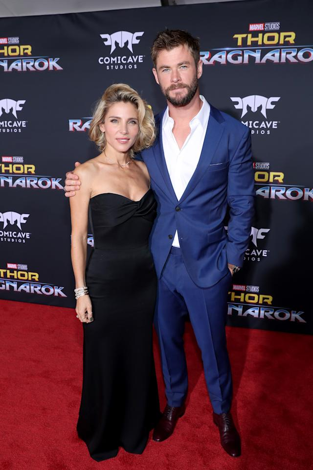 <p>The other Hemsworth brother, and Thor himself, stood beside his stunning wife, Elsa Pataky, at the premiere as they stepped out without their three children. (Photo: Getty Images) </p>