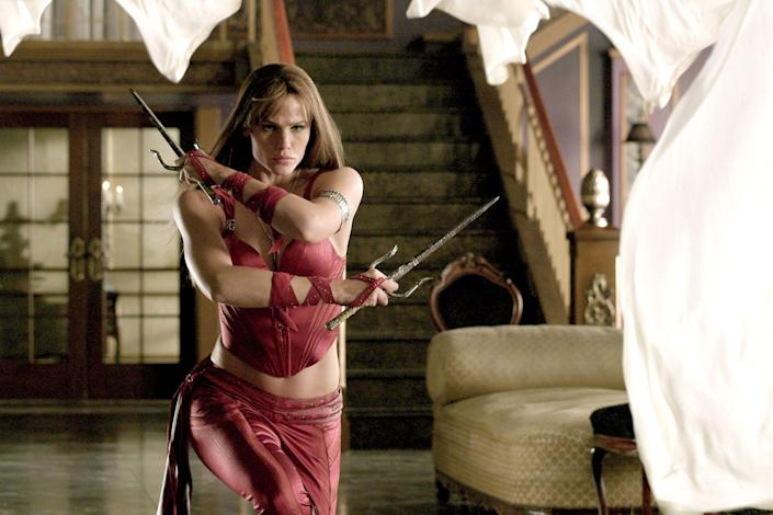 """<p><em>Elektra</em> is far from a perfect movie, but watching Garner take no prisoners with her sai is a must-see for fans. Based on the Marvel comic, she plays an assassin-for-hire who decides to defect and stand up against her employer in order to protect two new targets.</p><p><a class=""""link rapid-noclick-resp"""" href=""""https://www.amazon.com/Elektra-Will-Lee/dp/B001GJ3BSC/ref=sr_1_1?tag=syn-yahoo-20&ascsubtag=%5Bartid%7C10072.g.27131604%5Bsrc%7Cyahoo-us"""" rel=""""nofollow noopener"""" target=""""_blank"""" data-ylk=""""slk:WATCH NOW"""">WATCH NOW</a></p>"""