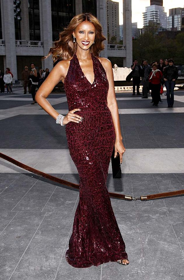 """Last but not least was David Bowie's 54-year-old main squeeze, Iman, who put women half her age to shame in a $3,300 plum plunging Donna Karan dazzler and blinging bangles. Brian Ach/<a href=""""http://www.wireimage.com"""" target=""""new"""">WireImage.com</a> - October 7, 2009"""