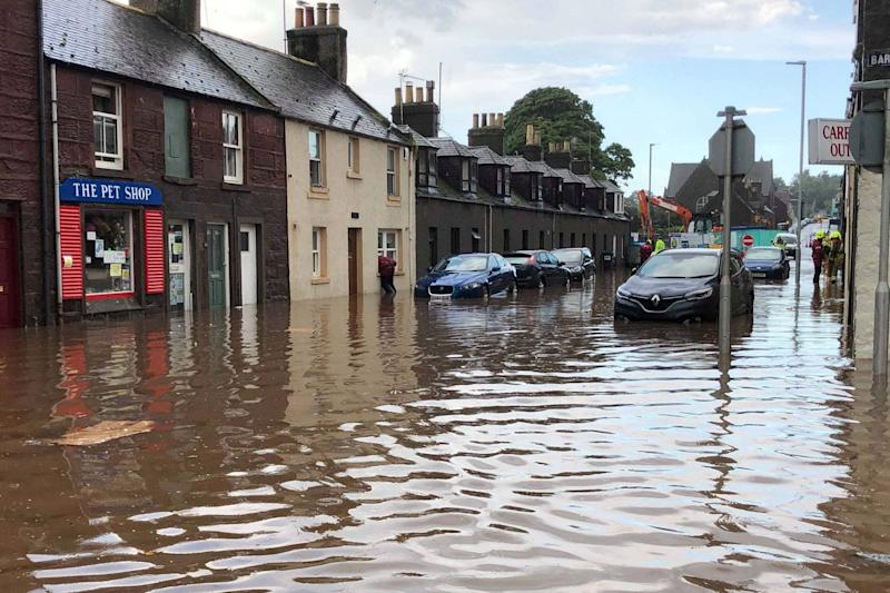 Flooding in Stonehaven, Aberdeenshire in Scotland (PA)