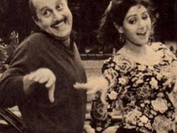Anupam Kher with Sridevi from the sets of Lamhe
