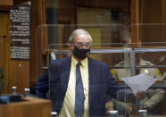 Defense attorney Steven A. Seiden pleads for a private client bail during the arraignment of several people arrested in connection with the theft of Lady Gaga's dog and shooting of her dog walker, Thursday, April 29, 2021, in Los Angeles. (AP Photo/Damian Dovarganes, Pool)