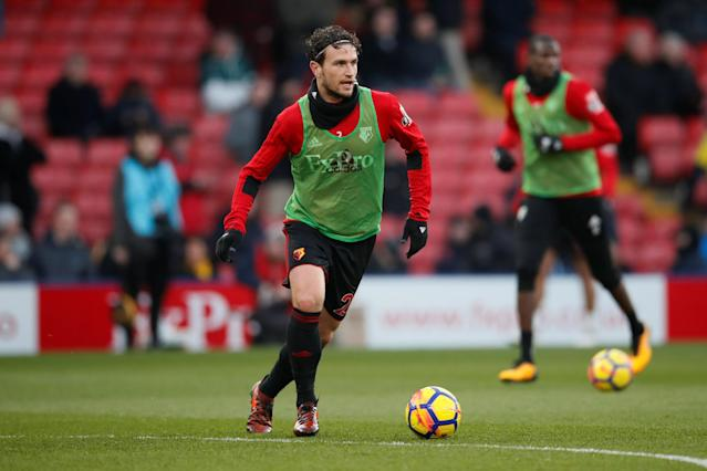 """Soccer Football - Premier League - Watford vs Everton - Vicarage Road, Watford, Britain - February 24, 2018 Watford's Daryl Janmaat during the warm up before the match REUTERS/David Klein EDITORIAL USE ONLY. No use with unauthorized audio, video, data, fixture lists, club/league logos or """"live"""" services. Online in-match use limited to 75 images, no video emulation. No use in betting, games or single club/league/player publications. Please contact your account representative for further details."""