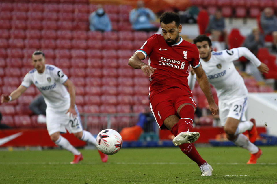 Mohamed Salah scored two of his three goals Saturday from the penalty spot, including Liverpool's 88th minute winner over Leeds United. (Phil Noble/Getty Images)