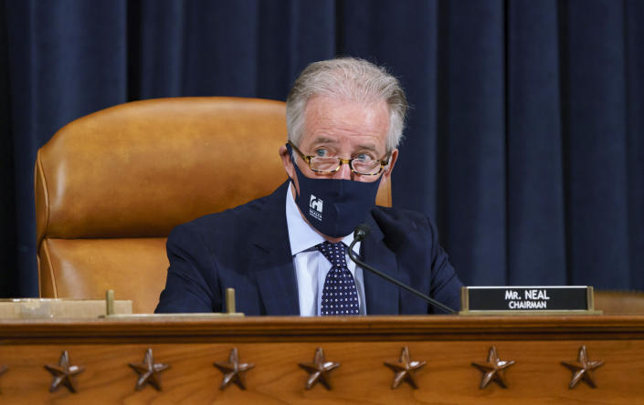 House Ways and Means Committee Chairman Richard Neal, D-Mass., presides over a markup hearing to craft the Democrats' Build Back Better Act, massive legislation that is a cornerstone of President Joe Biden's domestic agenda, at the Capitol in Washington, Thursday, Sept. 9, 2021. The high cost of the bill, to help families and combat climate change, would be financed in part by increasing taxes on the wealthy and corporations. (AP Photo/J. Scott Applewhite)