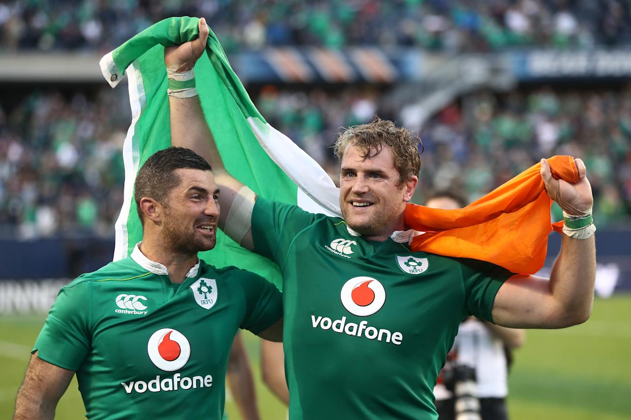 CHICAGO, IL - NOVEMBER 05: (L-R) Rob Kearney and Jamie Heaslip of Ireland celebrates following his team's 40-29 victory during the international match between Ireland and New Zealand at Soldier Field on November 5, 2016 in Chicago, United States. Phil Walter/Getty Images/AFPCHICAGO, IL - NOVEMBER 05: (L-R) Rob Kearney and Jamie Heaslip of Ireland celebrates following his team's 40-29 victory during the international match between Ireland and New Zealand at Soldier Field on November 5, 2016 in Chicago, United States. Phil Walter/Getty Images/AFP (AFP Photo/PHIL WALTER)