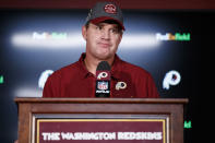 FILE - In this Sept. 15, 2019, file photo, Washington Redskins head coach Jay Gruden pauses while speaking during a news conference after an NFL football game against the Dallas Cowboys, in Landover, Md. Gruden was fired as head coach of the Washington Redskins on Monday, Oct. 7, 2019, after an 0-5 start to the sixth season of a tenure that featured only one playoff appearance. (AP Photo/Alex Brandon, File)