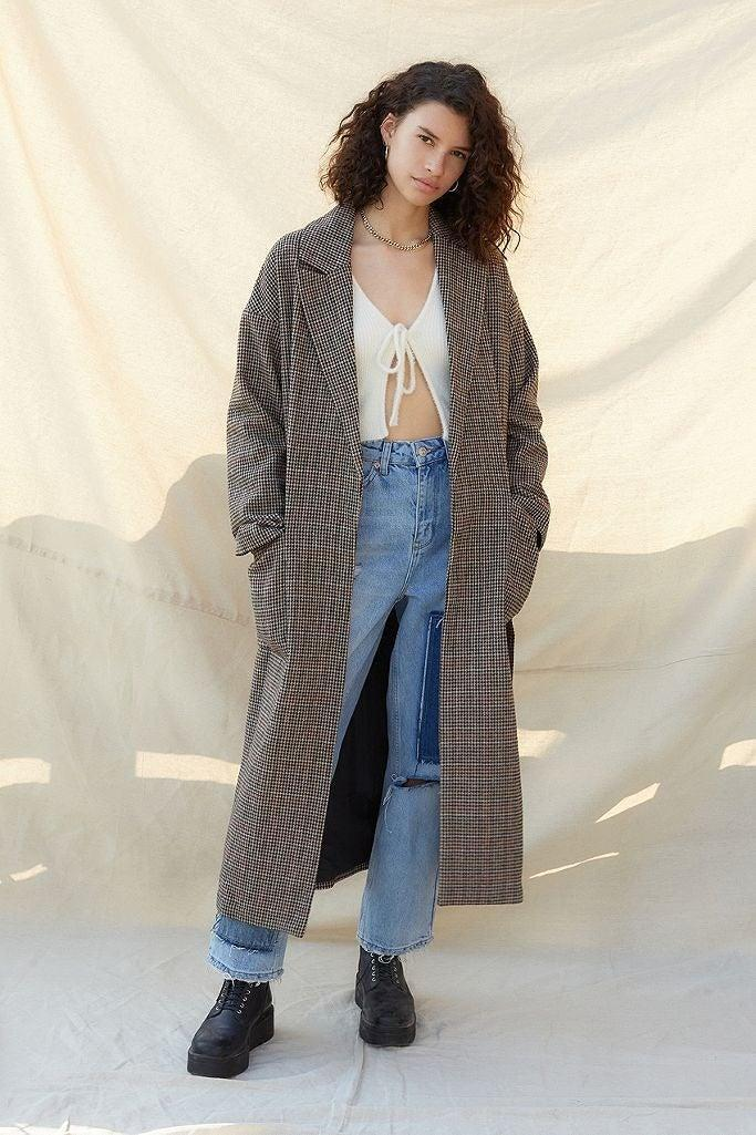 """<br><br><strong>Urban Outfitters</strong> UO Check Belted Crombie Coat, $, available at <a href=""""https://www.urbanoutfitters.com/en-gb/shop/uo-check-belted-crombie-coat?"""" rel=""""nofollow noopener"""" target=""""_blank"""" data-ylk=""""slk:Urban Outfitters"""" class=""""link rapid-noclick-resp"""">Urban Outfitters</a>"""
