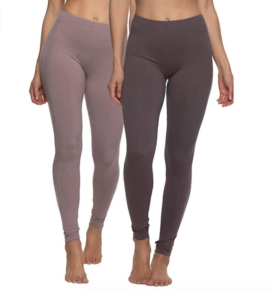 """<p><strong>Reviews & rating:</strong> 7,147 reviews, 4.6 out of 5 stars.</p> <p><strong>Key selling points:</strong> Comfort is the name of the game for these $30 Felina leggings. They are soft, lightweight, perfectly high-waisted, and feel like second skin. Plus, they feature a thin elastic waistband that won't dig into your stomach. </p> <p><strong>What customers say:</strong> """"I bought these leggings six months ago and came back to write a review because they are THAT awesome. They are so soft that when I got them, I worried they would pill and look terrible in no time, but they still look and feel like new. The black doesn't fade. The fabric doesn't shrink, pill, fade, or show any other signs of wear. There is no bunching up at the crotch or knees. They are smooth, sleek, and soft. These are going to be the only leggings in my drawer."""" —<a href=""""https://amzn.to/3geXkNN"""" rel=""""nofollow noopener"""" target=""""_blank"""" data-ylk=""""slk:HLL"""" class=""""link rapid-noclick-resp"""">HLL</a>, <em>reviewer on Amazon</em></p> $30, Amazon. <a href=""""https://www.amazon.com/Felina-Velvet-Lightweight-Leggings-Black/dp/B088KW45F1/ref="""" rel=""""nofollow noopener"""" target=""""_blank"""" data-ylk=""""slk:Get it now!"""" class=""""link rapid-noclick-resp"""">Get it now!</a>"""