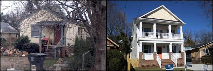 Photos of the home at 1505 E. Jones Street on December 6, 2011, left, and February 9, 2018.